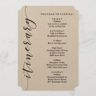 Welcome Bag Wedding Itinerary & Information Card
