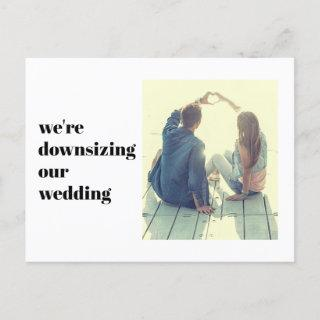 We're Downsizing Our Wedding Photo Modern Announcement Postcard