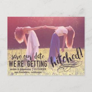 We're Getting Hitched   Custom Photo Save the Date Announcement Postcard