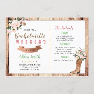 Western bachelorette with Itinerary Invitations