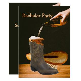 Western Party Bachelor Cowboy Hat Beer Invitations