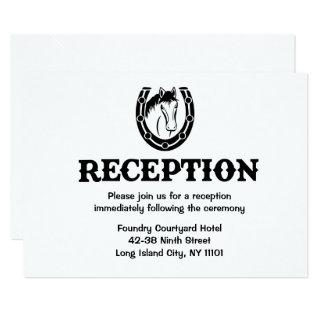 Western Reception Horse Country Wedding Black Invitation