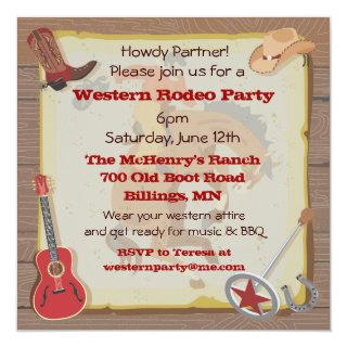 Western Rodeo Cowboy Party Invitations