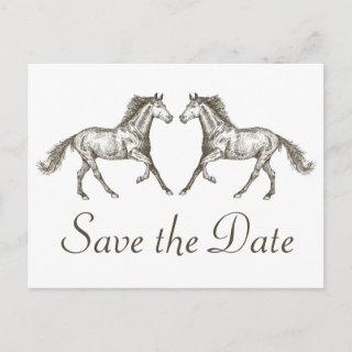Western Save The Date Engagement Wedding Horse Postcard