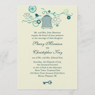 Whimsical Bird Cage Wedding Invitations