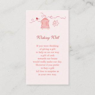 Whimsical Bird Cage Wedding Wishing Well Enclosure Card