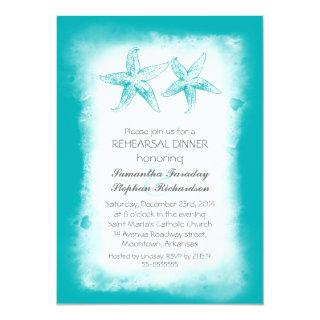 Whimsical blue beach rehearsal dinner invitations