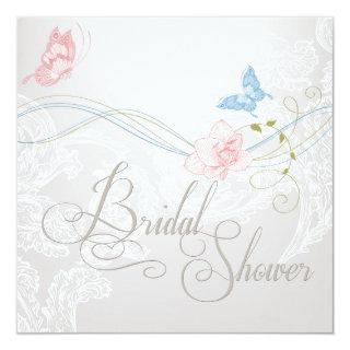 Whimsical Butterflies and Lace Bridal Shower Invitations