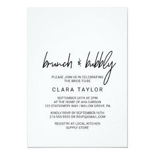 Whimsical Calligraphy Brunch & Bubbly Invitations