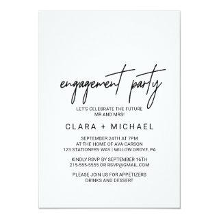 Whimsical Calligraphy Engagement Party Invitations