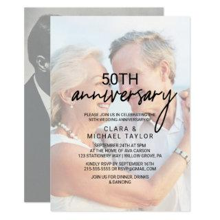 Whimsical Calligraphy | Faded Photo Anniversary Invitations