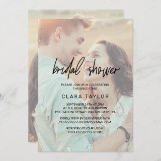 Whimsical Calligraphy | Faded Photo Bridal Shower Invitation