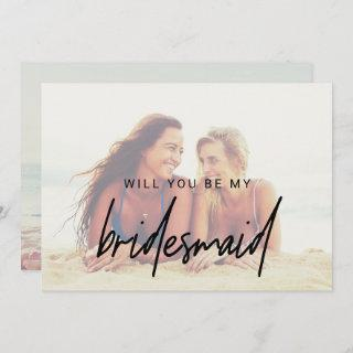 Whimsical Calligraphy | Faded Photo Bridesmaid Invitations