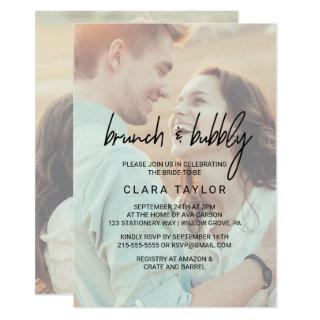 Whimsical Calligraphy Faded Photo Brunch & Bubbly Invitations