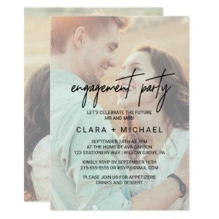 Whimsical Calligraphy Faded Photo Engagement Party Invitations