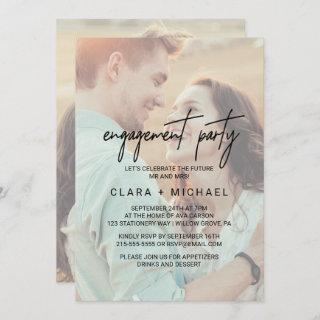Whimsical Calligraphy Faded Photo Engagement Party Invitation
