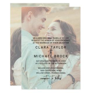 Whimsical Calligraphy | Faded Photo Formal Wedding Invitation