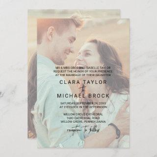 Whimsical Calligraphy   Faded Photo Formal Wedding Invitations