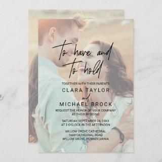 Whimsical Calligraphy | Faded Photo Hold Wedding