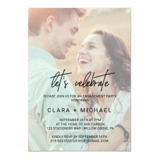 Whimsical Calligraphy Faded Photo Let's Celebrate Invitations