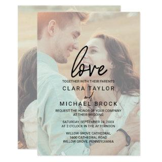Whimsical Calligraphy | Faded Photo Love Wedding Invitation