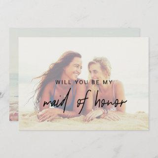 Whimsical Calligraphy | Faded Photo Maid Of Honor Invitations
