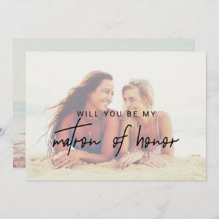 Whimsical Calligraphy Faded Photo Matron Of Honor