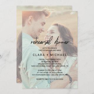 Whimsical Calligraphy Faded Photo Rehearsal Dinner Invitations