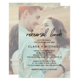 Whimsical Calligraphy Faded Photo Rehearsal Lunch Invitation