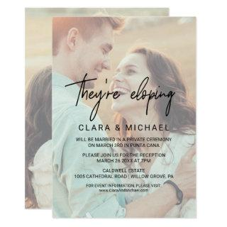 Whimsical Calligraphy Faded Photo They're Eloping Invitation