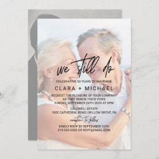 Whimsical Calligraphy | Faded Photo Vow Renewal Invitations