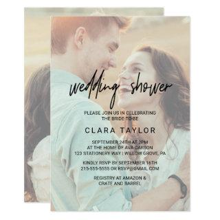Whimsical Calligraphy | Faded Photo Wedding Shower Invitation