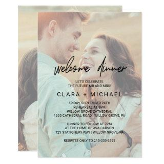 Whimsical Calligraphy Faded Photo Welcome Dinner Invitations