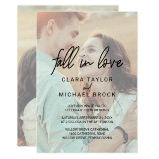 Whimsical Calligraphy Fall In Love Photo Wedding Invitation