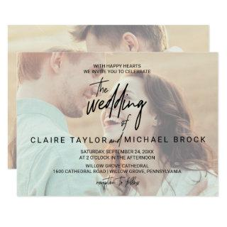Whimsical Calligraphy | Horizontal Photo Wedding Invitation
