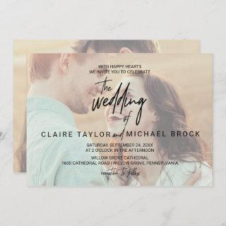 Whimsical Calligraphy | Horizontal Photo Wedding Invitations