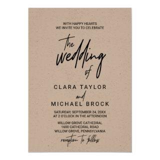 Whimsical Calligraphy Kraft The Wedding Of Invitations