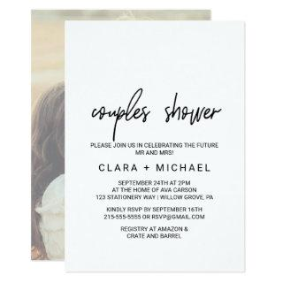 Whimsical Calligraphy | Photo Back Couples Shower Invitations