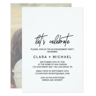 Whimsical Calligraphy Photo Back Let's Celebrate Invitation