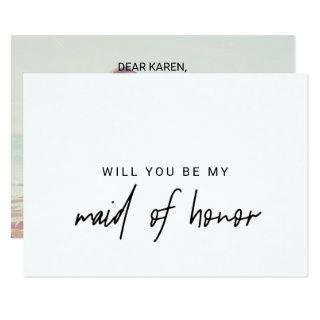 Whimsical Calligraphy | Photo Back Maid Of Honor Invitations