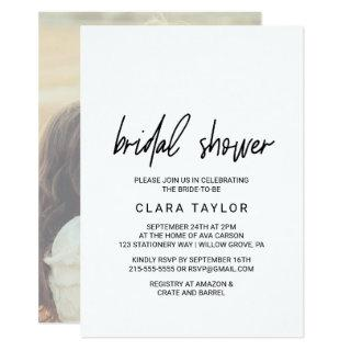 Whimsical Calligraphy Photo Backing Bridal Shower Invitations
