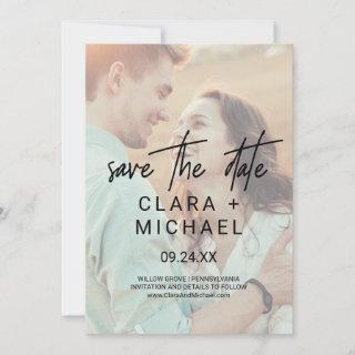 Whimsical Calligraphy | Photo Save the Date Card