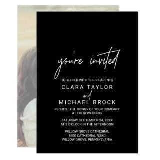 Whimsical Calligraphy Photo You're Invited Wedding Invitations