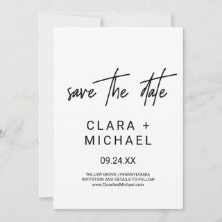 Whimsical Calligraphy Save the Date Card