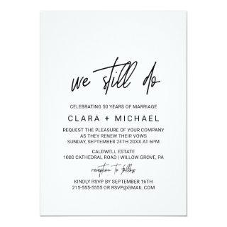 Whimsical Calligraphy Vow Renewal Invitations
