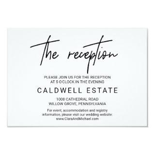Whimsical Calligraphy Wedding Reception Card