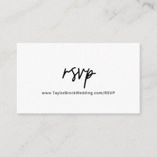 Whimsical Calligraphy Wedding Website RSVP Enclosure Card