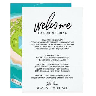 Whimsical Calligraphy Welcome Letter & Map Invitation