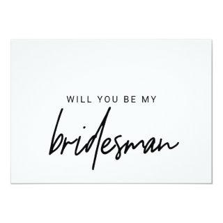 Whimsical Calligraphy Will You Be My Bridesman Invitation
