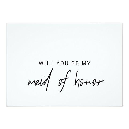 Whimsical Calligraphy Will You Be My Maid Of Honor Invitations